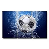 So Crazy Art 3 piece Blue Wall Art Painting Soccer In Water Pictures Prints On Canvas Abstract The Picture Decor Oil For Home Modern Decoration Print