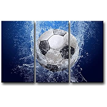 Merveilleux So Crazy Art 3 Piece Blue Wall Art Painting Soccer In Water Pictures Prints  On Canvas