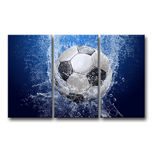 Soccer Oil Painting - So Crazy Art 3 piece Blue Wall Art Painting Soccer In Water Pictures Prints On Canvas Abstract The Picture Decor Oil For Home Modern Decoration Print