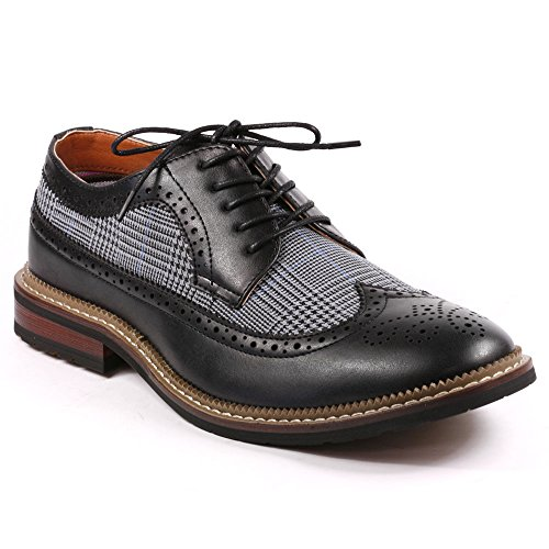 Metrocharm MET525-6 Men's Tweed Perforated Wing Tip Lace up Oxford Dress Shoes (11, Black)