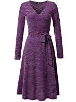 JayJay Women Casual Caged Neck Long Sleeve Knit Sweater Faux Wrap Dress with Bow Belt