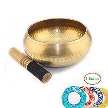 SUMCOO Tibetan Nepalese Chakra Healing Singing Bowl Sets,Metal Handmade Meditation Yoga ,Mindfulness Prayer Himalayan Bowl With Silken Cushion And Wooden Stick (copper)