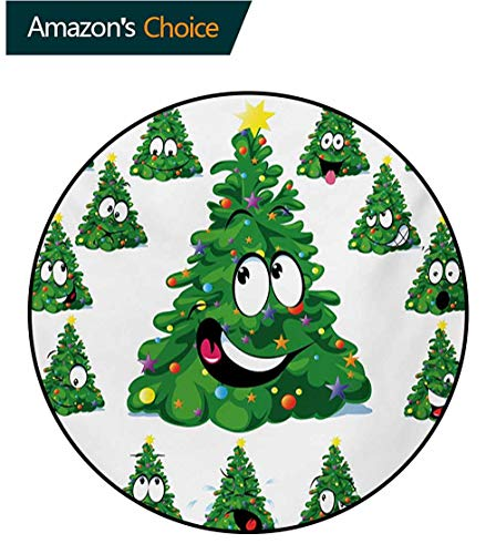 RUGSMAT Christmas Modern Vintage Rugs,Christmas Tree Cartoon with Star and Different Funny Face Expressions Area Rug - Perfect for Any Place,Round-47 Inch Green Yellow White ()
