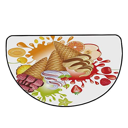 Ice Cream Decor Comfortable Semicircle Mat,Various Flavor Summer Dessert with Peach Apricot Strawberry Sorbet Print Decorative for Living Room,35.4