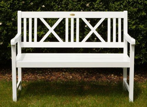 Landhausbank LÜBECK weiß lackiert, 2-Sitzer aus Eukalyptus 100% FSC, B 120 x H 89 x T 59 cm