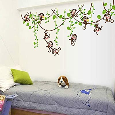 onestaring Cute Cartoon Wall Sticker Monkeys Climbing Jungle Tree Decoration for Kids Nursery Bedroom Living Room: Kitchen & Dining
