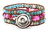 Colorful Agate Wrap Bracelets Handmade Woven Brown Leather Boho Style