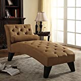 Luxury Living Room Chaise Lounge Set, Includes Toss Pillow, Features Tufted Back and Seat, Microfiber Upholstery Material, Sturdy Solid WoodFrame Material, Brown + Expert Guide