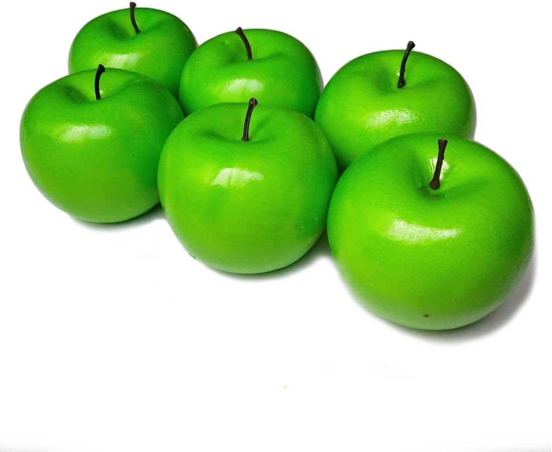 Lorigun 6 Pcs Artificial Green Apples Simulation Fake Fruit Photo Props Home Decoration