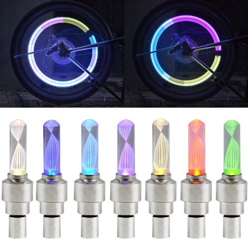 TRIXES Lampe LED clignotante MULTICOLORE pour valve de pneu voiture roues de vélo moto new