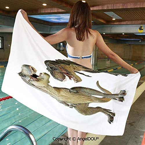 AngelDOU Large Gym Sport Swimming Pool Towel Tyrannosaurus Rex Pair Facing Off Ferocious Creatures Prehistoric Predators Decorative Microfiber Beach Towel Women Men.W13.7xL27.5(inch)
