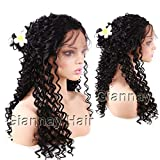 Giannay Hair Deep Curly Synthetic Lace Front Wigs Part Handmade Glueless Long Wig High Temperature Heat Resistant Fiber Wigs with Baby Hair Black Color for Women 22 Inch (includes pair of eyelashes)