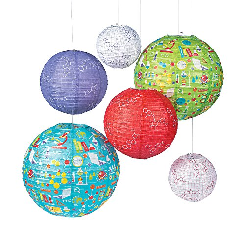 Fun Express - Science Party Paper Lanterns (6pc) for Birthday - Party Decor - Hanging Decor - Lanterns - Birthday - 6 Pieces