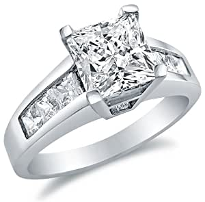 Solid 925 Sterling Silver Princess Cut Solitaire with ...