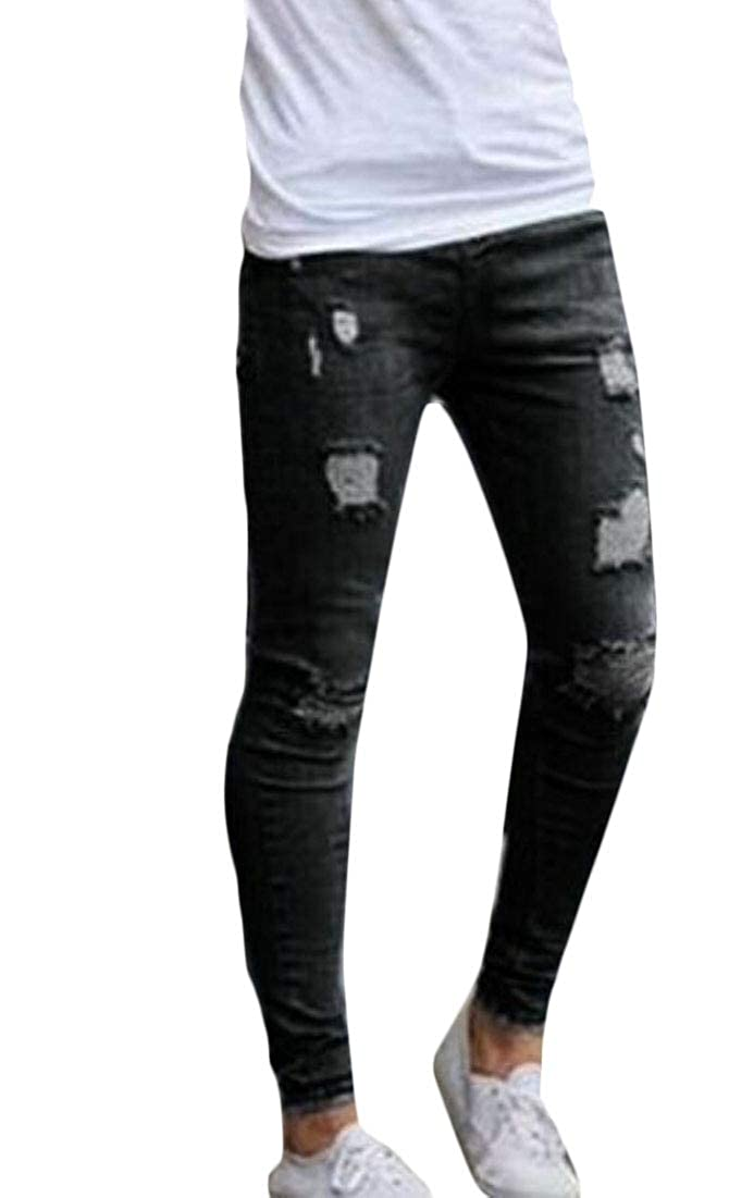 HTOOHTOOH Men Ripped Distressed Destroyed Straight Fit Washed Denim Pant Jeans