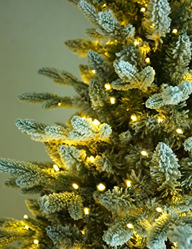 ABUSA Flocked Prelit Artificial Christmas Tree 7.5 ft Snowy Spruce with 700 LED Clear Lights 1452 Branch Tips by ABUSA (Image #6)