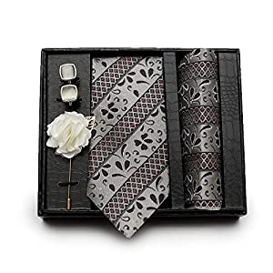 Axlon Cotton Silk Necktie, Pocket Square, Lapel Pin Cufflinks Set for Men (Multicolour, Free Size)