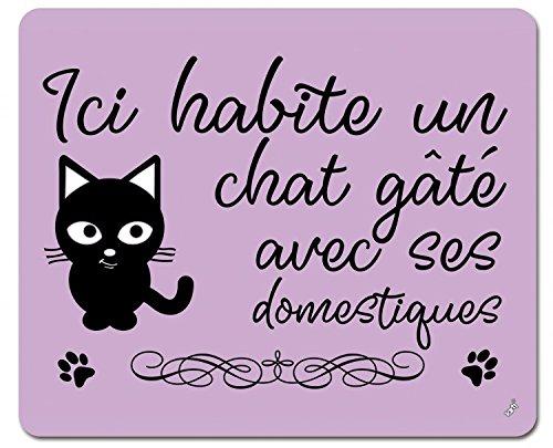 70x50 cm 23x19 cm - Chats Ici Habite Un Chat G/ât/é avec Ses Domestiques + 1 Tapis De Souris Set : 1 Paillasson Essuie-Pieds