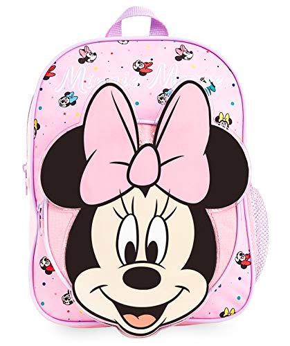 51ZBNf4W4RL MOCHILA ESCOLAR DE MINNIE --- ¡El mejor regalo para todos los fans de las películas de Disney! Esta bonita mochila de color rosa en diseno 3D es perfecta tanto para ir al colegio como para ir de vacaciones. Presenta a tu personaje favorito de Disney Minnie Mouse y su famoso lazo. Tiene espacio suficiente para libros, ropa o juguetes y viene con correas acolchadas para mayor comodidad. MERCHANDISING OFICIAL DE DISNEY --- Nuestras mochilas escolares de Disney tienen licencia oficial, por lo que no se preocupe, cuando compra a través de nosotros está adquiriendo un producto de calidad. GRAN CAPACIDAD --- Esta mochila clásica de Disney tiene espacio suficiente para guardar material escolar, juguetes, el almuerzo o un cambio de ropa. Cuenta con un compartimento principal con cremallera, un bolsillo lateral de malla para bebidas, y un pequeño bolso en la parte delantera que pueden usar a modo de estuche escolar.
