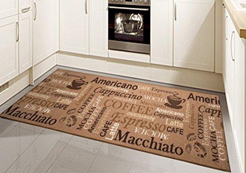 Teppich Modern Flachgewebe Gel Läufer Küchenteppich Küchenläufer Braun Beige Schwarz mit Schriftzug Coffee Macchiato Cappuccino Espresso Größe 80 x 300 cm