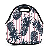 interesting tropical outdoor kitchen ideas MIGAGA Neoprene Tropical Plants Pineapple Funny Portable Fashion Lunch Bag Carry Case Tote with Zipper Strap Box Container Bags Picnic Outdoor Travel Fashionable Handbag Pouch for Women Men Kids Girls