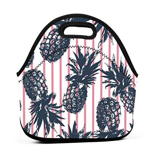 MIGAGA Neoprene Tropical Plants Pineapple Funny Portable Fashion Lunch Bag Carry Case Tote with Zipper Strap Box Container Bags Picnic Outdoor Travel Fashionable Handbag Pouch for Women Men Kids Girls