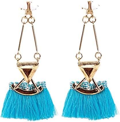 Buyinheart Bohemian Long Fringed Tassel Chandelier Drop Dangle Stud Earrings for Women Girls