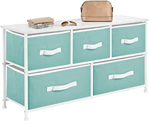 mDesign Extra Wide Dresser Storage Tower - Sturdy Steel Frame, Wood Top, Easy Pull Fabric Bins - Organizer Unit for Bedroom, Hallway, Entryway, Closets - Textured Print - 5 Drawers - White/Turquoise