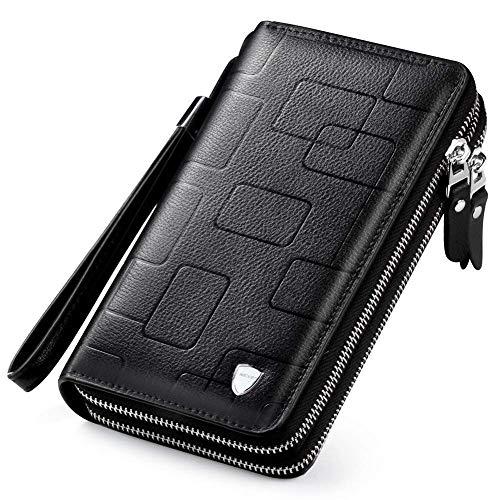 Mens Clutch Bag Handbag Leather Zipper Long Wallet Business Hand Clutch Phone Holder (Stripe Black Double Zipper)