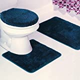 BATHROOM SET RUG CONTOUR MAT TOILET LID COVER PLAIN SOLID COLOR BATHMATS NAVY BLUE #6 3PC