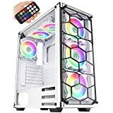 MUSETEX ATX Mid-Tower Case with USB 3.0, 6 PCS 120mm Fans ARGB Lighting System Voice Remote Control, 2 Tempered Glass Panels PC Gaming Case,White (907W) (Color: 907W-NEW)