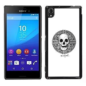 """For Sony Xperia M4 Aqua Case , Cráneo de Viking Blanco Negro Hora de la Muerte"""" - Diseño Patrón Teléfono Caso Cubierta Case Bumper Duro Protección Case Cover Funda"""