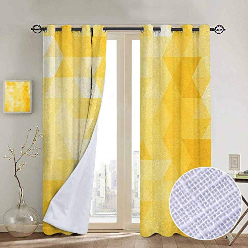 NUOMANAN Blackout Curtains for Bedroom Yellow,Abstract Triangle Geometrical Shaded Patterns with Modern Mosaic Illustration Motifs, Yellow,Darkening Grommet Window Curtain-1 Pair 84