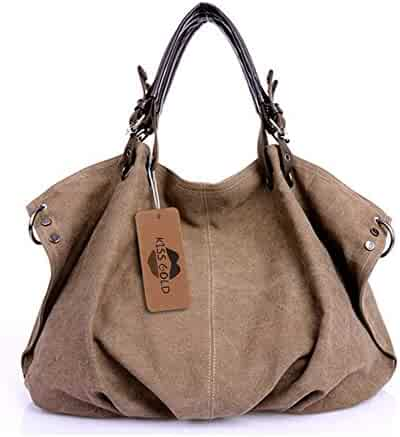 a1a13446cc511 KISS GOLD(TM) European Style Canvas Large Tote Top Handle Bag Shopping Hobo  Shoulder