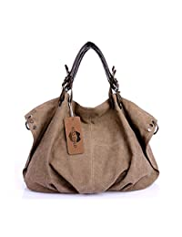 KISS GOLD(TM) European Style Canvas Large Tote Top Handle Bag Shopping Hobo Shoulder Bag, Large Size 22 '' X6.3'' X 14.2 ''(Coffee)