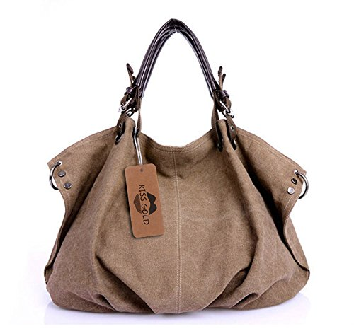 KISS GOLD(TM) European Style Canvas Large Tote Top Handle Bag Shopping Hobo Shoulder Bag, Large Size 22 '' X6.3'' X 14.2 ''(Coffee) Duffle Purse Handbag