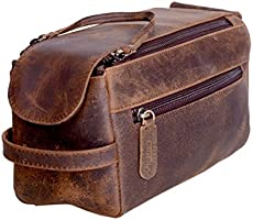 2064cb0b5529 KOMALC Genuine Buffalo Leather Unisex Toiletry Bag …