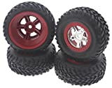 Traxxas 1 16 Mini Slash 4x4 FRONT & REAR SCT TIRES & RED BEADLOCK WHEELS 12m