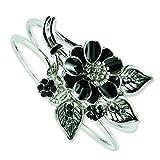 Silver-tone Black Enamel Floral Bracelet