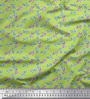 Soimoi Verde batista de algodon Tela punto y narcisos floral ...