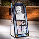 J Devlin Pic 177-23 Baptism Picture Frame with Cross 2x3 Photo Blue Stained Glass Christening First Communion Christian Keepsake for Boys