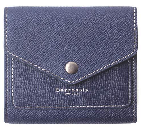 Borgasets Women's RFID Blocking Small Compact Bifold Leather Pocket Wallet Ladies Mini Purse (Crosshatch Blue)