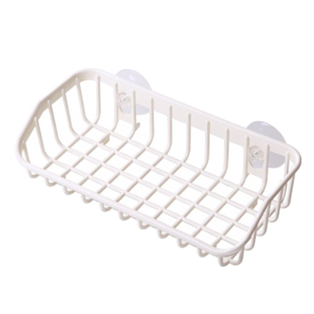 OUNONA Sink Hanging Storage Rack Plastic Double Sucker Drying Storage Rack(White) by OUNONA