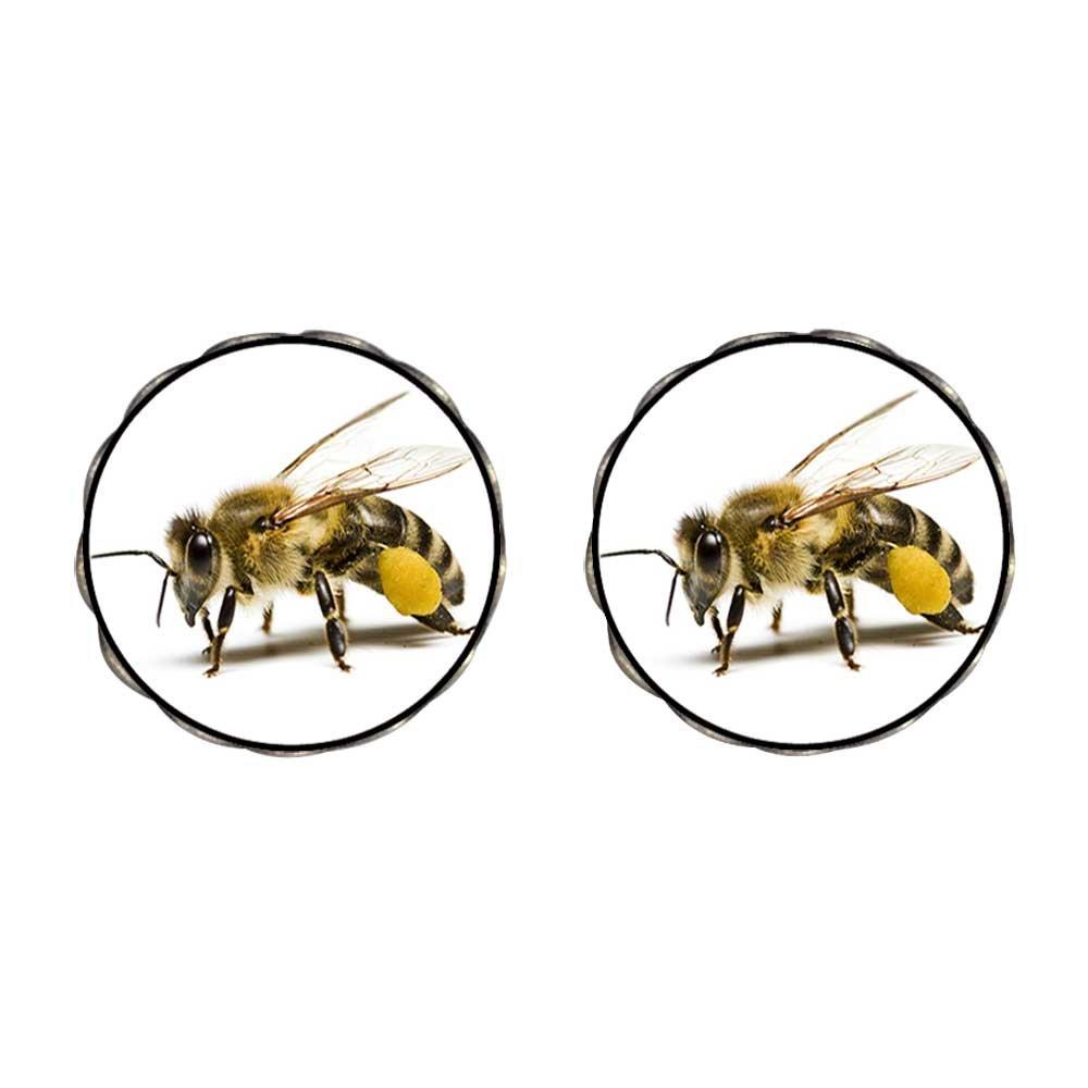 GiftJewelryShop Bronze Retro Style Honeybee Photo Flower Stud Earrings 14mm Diameter