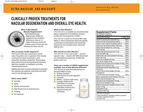 Ultra Macular - Ophthalmologist Recommended AREDS 2 Formula, Proven to Slow AMD: Lutein, Zeaxanthin, Bilberry + 100% RDA of 16 Vitamins by Ultra Macular (Image #2)