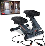 Women's Health Men's Health Bluetooth Cardio Stair Stepper with Adjustable Resistance Bands and with MyCloudFi