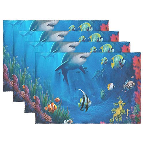 NMCEO Place Mats Designer The Underwater World Personalized Table Mats for Kitchen Dinner Table Washable PVC Non-Slip Insulation Set of 6