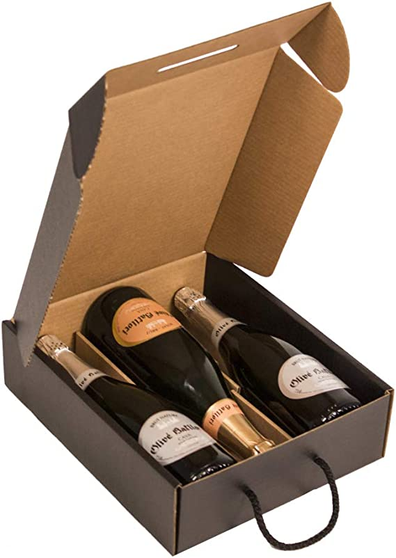Kartox | Estuche para 3 botellas |Caja de cartón para cava o champagne | Caja de color negro mate | 4 Unidades: Amazon.es: Oficina y papelería