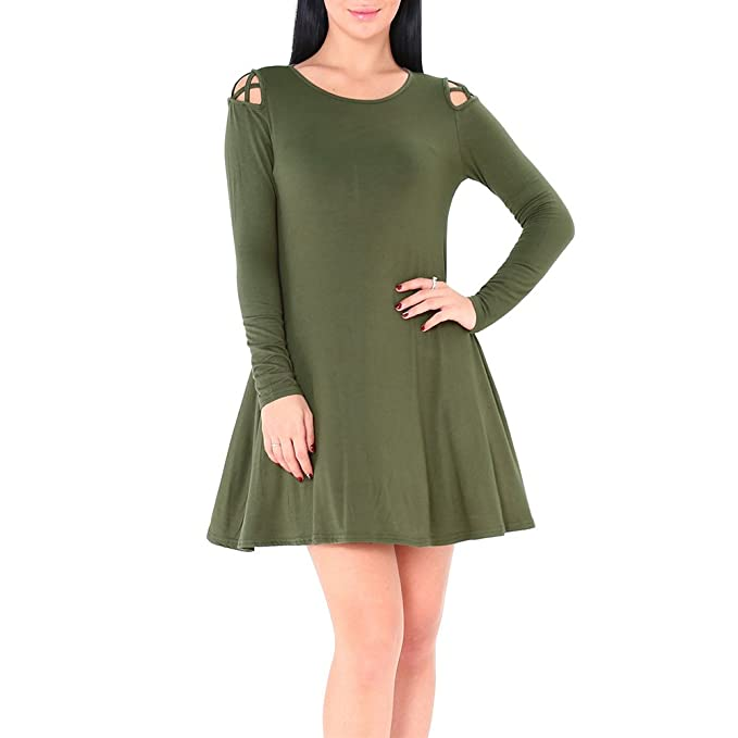 4c0f2fb4aeffd Idingding Women s Sexy Cut Out Cross Cold Shoulder Long Sleeve Casual  Blouse Tunic T-Shirt