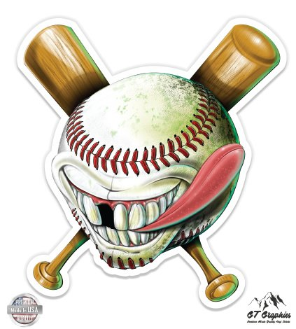 "Crazy Baseball - 3"" Vinyl Sticker - For Car Laptop I-Pad Phone Helmet Hard Hat - Waterproof Decal"